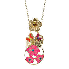 Rose, flower, butterfly, leaf chandelier long chain necklace