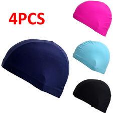 Adults Men Women Elastic Fabric Swimming Cap Ears Long Hair Sports Swim Pool Hat