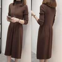 Autumn Winter Lady Turtleneck Long Sleeve Knitted Sweater Midi Dress Solid Color