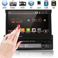 "Single 1DIN GPS Nav 7""HD Filp Up Touch Car Stereo Radio MP3 MP5 Player Bluetooth"