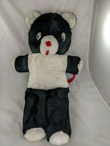"Vintage Black White Bear Plush 24"" Carnival Style Stuffed Animal Toy"