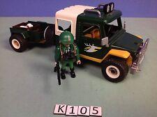 (K105) playmobil voiture 4x4 chasseur maison dans la forêt 4206 4207