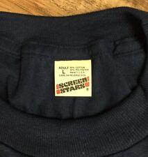 Vintage Screen Stars T-Shirt Blank Plain Deadstock Lg Soft Thin Navy Made Usa