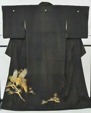 @Japanese Vintage Kimono / Tomesode silk 63.3inc. Black Antique hawk 3nfuji31384