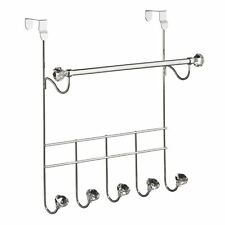 Over Door Hanger, Chrome/5 Hooks/Hanging Rail, Clear Diamantes
