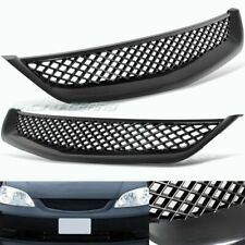 JDM TYPE-R STYLE BLACK MESH ABS FRONT HOOD GRILLE GRILL FIT 01-03 HONDA CIVIC