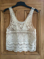 Forever New Brand New Cream / Ivory Crochet Lace Vest Crop Top Uk 6 - 10 Bnwot