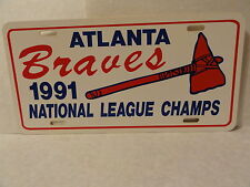VINTAGE 1991 ATLANTA BRAVES NATIONAL LEAGUE CHAMPS LICENSE PLATE NEW