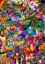 3 x Sticker Bomb Marvel Dc Comics Euro Vinyl Decal Vw Golf Dub Superman Batman