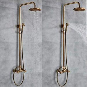 Antique Brass Bathroom Rainfall Shower System Faucet Set Shower Handheld Nozzle