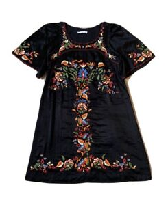 CACHAREL Embroidered  Black Dress  Size 40 (Size M) Silk Cotton