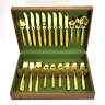 Americana Golden Heritage Flatware Set - 41 Pieces w Box - Golden Scroll Pattern
