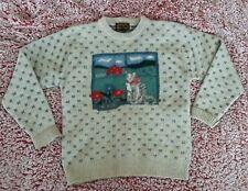 Vintage 1989 Eddie Bauer Wool Sweater Women's Medium Cat Window Barn Beige Blue
