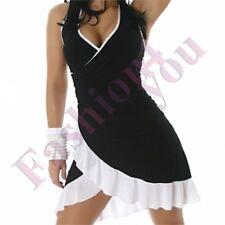 Women's Mini Dress Summer Ladies Short Sundress One Size 8 10 12 14 UK Black - White Regular