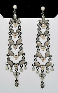 A280 Gorgeous & Chic designer style Ivory color Chandelier drop/ Dangle Earrings