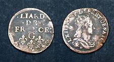 Liard de France 1656-58 G. 2°Type- buste jeune. Louis XIV. Cote TB: 50€