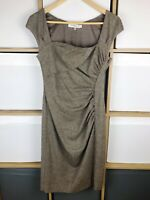 LK Bennett Brown Pure Wool Tweed Ruched Pencil Dress Size 10 VGC