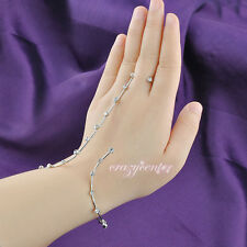 Adjustable CZ crystal palm bracelet hand cuff white gold plated handlet bangle
