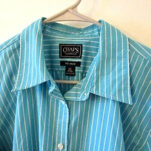 Chaps Woman  Blue  Floral Pattern Button Down Shirt Sz 1X