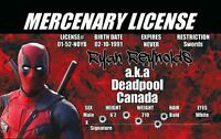 Deadpool of Marvel Comics novelty plastic collectors card Drivers License