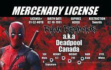 Halloween Costume Gear Deadpool of Marvel Comics id card Drivers License