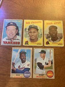 1959 1967 1968 Topps Mickey Mantle,  Hank Aaron, Roberto Clemente Poor Condition