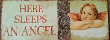 Beautiful Victorian Vintage Style Metal Sign, Here Sleeps an Angel, Shabby Chic