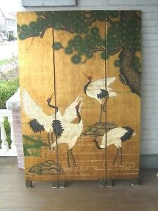 """Vintage Chinese Screen 72"""" x 48"""" 3 Panel Cranes Room Divider VGC"""