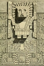 Framed Print - Tiwanaku Gate of the Sun Central Engraving (Ancient Aliens Art)