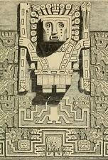 Stampa incorniciata-Tiahuanaco PORTA DEL SOLE incisione centrale (ANTICHI alieni ART)