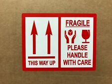 Red - This Way Up / Fragile Packing Stickers - 103 x 80mm - Various Pack Sizes