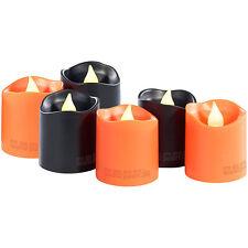 Lunartec Led-halloween-teelichter 6er-set orange und schwarz