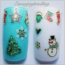 Nail Art 3D  Decals/Stickers Christmas Stockings Hearts Snowmen|flakes Trees#166