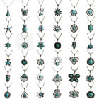 Women Vintage Tibetan Silver Turquoise Bib Crystal Pendant Fashion Long Necklace