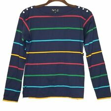 Agnes B. Navy Striped Tee Button Shoulder