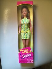 1998 Pretty In Plaid Barbie Red Hair Yellow Dress New In Box