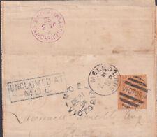1894 VICTORIA AUSTRALIA PS WRAPPER MOE UNCLAIMED D.L.O. MELBOURNE