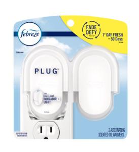 Febreze Odor-Eliminating Fade Defy Plug Air Freshener Oil Warmer Device, 2 Pack