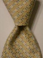 HUGO BOSS Men's 100% Silk Necktie ITALY Designer Geometric Yellow/Blue EUC