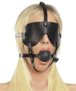 Bondage Harness Leder Ball Mundknebel 45mm schwarz Mund Knebel mit Augenbinde