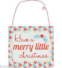 Gisela Graham Retro Feliz Navidad Placa de Madera Colgante Decoración del hogar