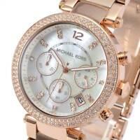 New Michael Kors Ladies Watch Parker Rose Gold Tone Chronograph Glitz MK5491