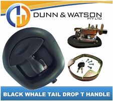 Black Recessed Folding T Lock / Handle (Trailer Toolbox) Drop T Whale Tail
