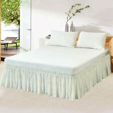 """Wrap Around Bed Skirts Ivory Dust Ruffle Bed Skirt Elastic Easy Fit 14"""" Drop"""