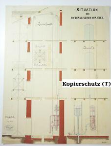 Technische Handzeichnung Situation des hydraulischen Krahnes Zeichnung 1879 !