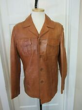 "Vtg 70's Fight Club Leather Jacket Car Coat Men's  44"" Chest"