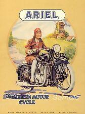 VINTAGE 1930 ARIEL MOTORCYCLE ADVERTISING A4 POSTER PRINT