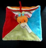 *- DOUDOU PLAT HAPPY HORSE GIRAFE rouge bleu vert orange tricot - EXCELLENT ETAT