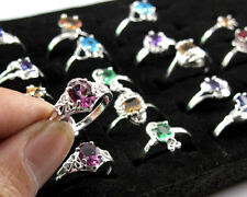 Wholesale 10PCS Mixed 925 Sterling Silver Crystal Rings Lady Unique Jewelry #6-9
