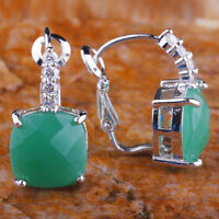Emerald Frosted & White Topaz Fashion Jewelry Gemstone Silver Earrings Free Ship